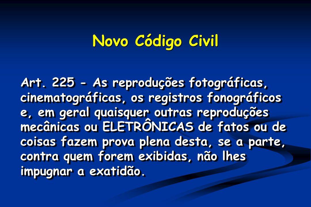 Novo Código Civil Art. 225 - As reproduções fotográficas, cinematográficas, os registros fonográficos e, em geral quaisquer outras reproduções mecânic