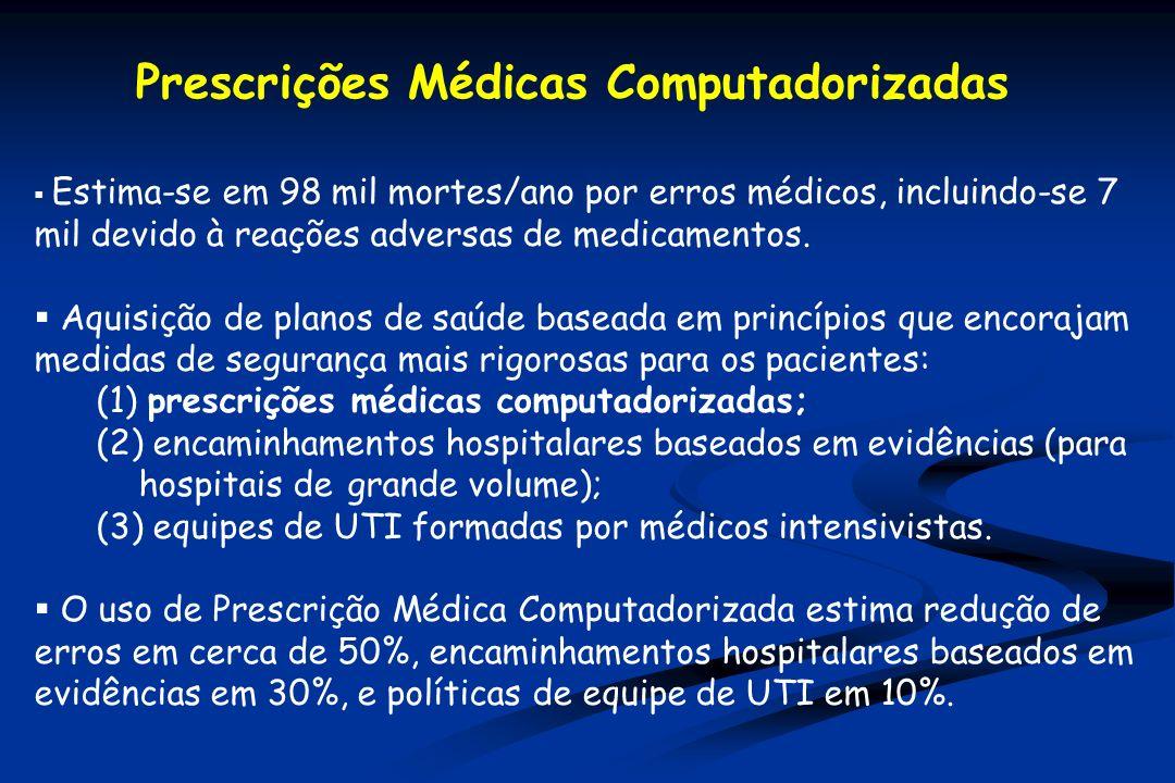 Estima-se em 98 mil mortes/ano por erros médicos, incluindo-se 7 mil devido à reações adversas de medicamentos.