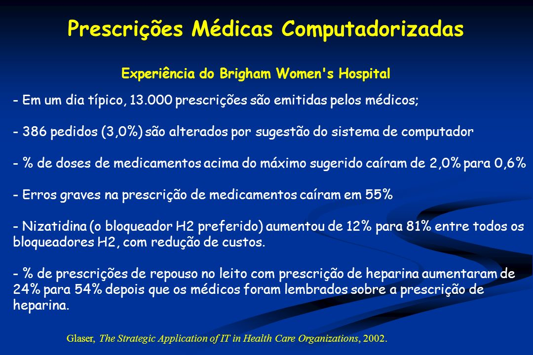 Experiência do Brigham Women s Hospital - Em um dia típico, 13.000 prescrições são emitidas pelos médicos; - 386 pedidos (3,0%) são alterados por sugestão do sistema de computador - % de doses de medicamentos acima do máximo sugerido caíram de 2,0% para 0,6% - Erros graves na prescrição de medicamentos caíram em 55% - Nizatidina (o bloqueador H2 preferido) aumentou de 12% para 81% entre todos os bloqueadores H2, com redução de custos.