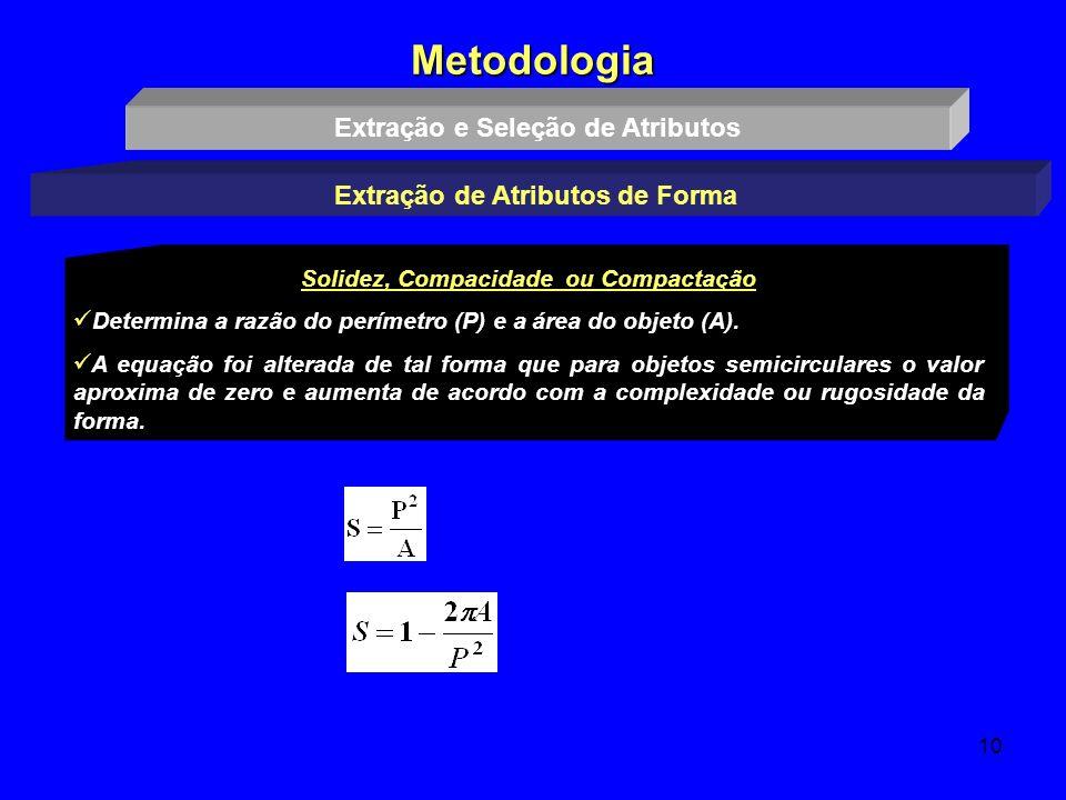 10 Metodologia Extração e Seleção de Atributos Extração de Atributos de Forma Solidez, Compacidade ou Compactação Determina a razão do perímetro (P) e
