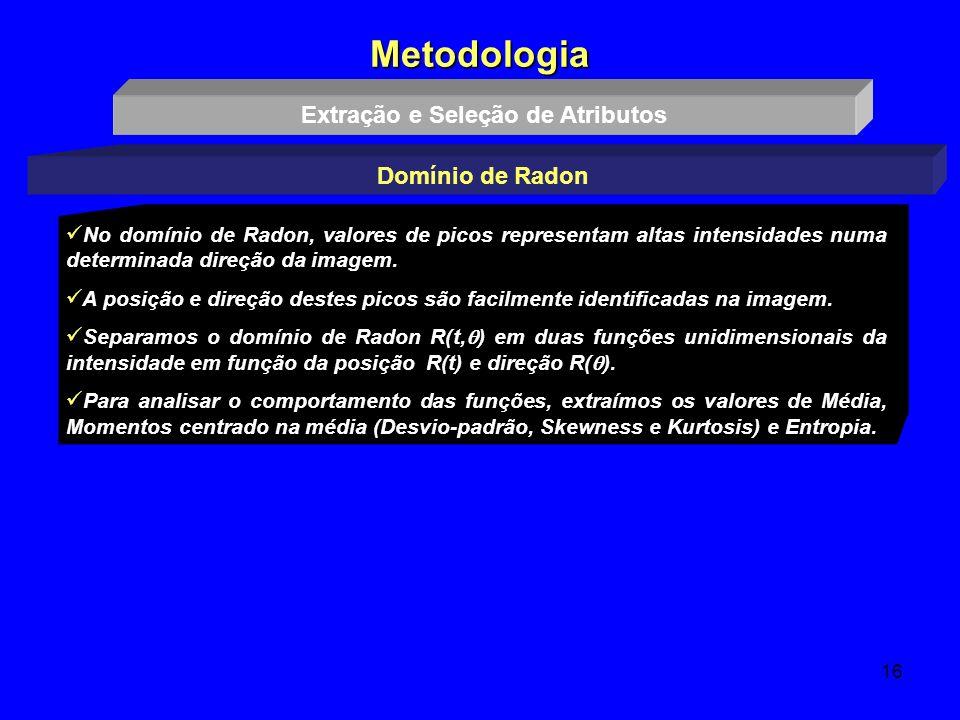 16 Metodologia Extração e Seleção de Atributos Domínio de Radon No domínio de Radon, valores de picos representam altas intensidades numa determinada