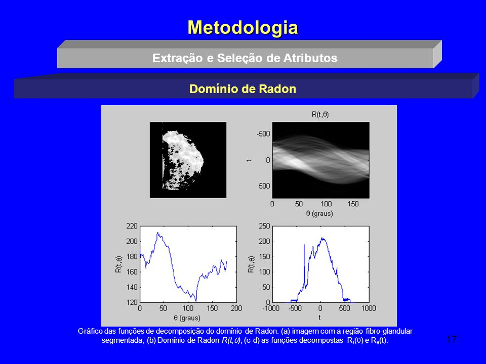 17 Metodologia Extração e Seleção de Atributos Domínio de Radon Gráfico das funções de decomposição do domínio de Radon. (a) imagem com a região fibro