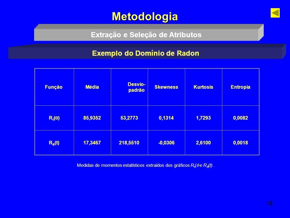 18 Metodologia Extração e Seleção de Atributos Exemplo do Domínio de Radon FunçãoMédia Desvio- padrão SkewnessKurtosisEntropia R t ( ) 85,935253,2773