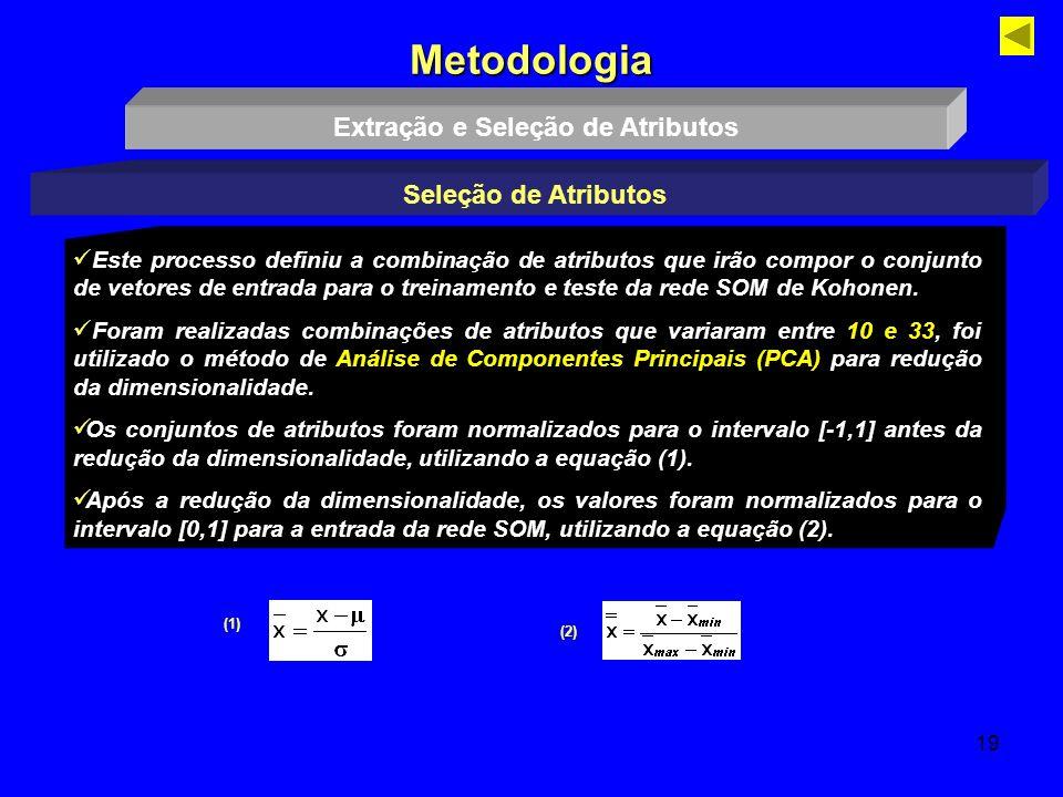 19 Metodologia Extração e Seleção de Atributos Seleção de Atributos Este processo definiu a combinação de atributos que irão compor o conjunto de veto