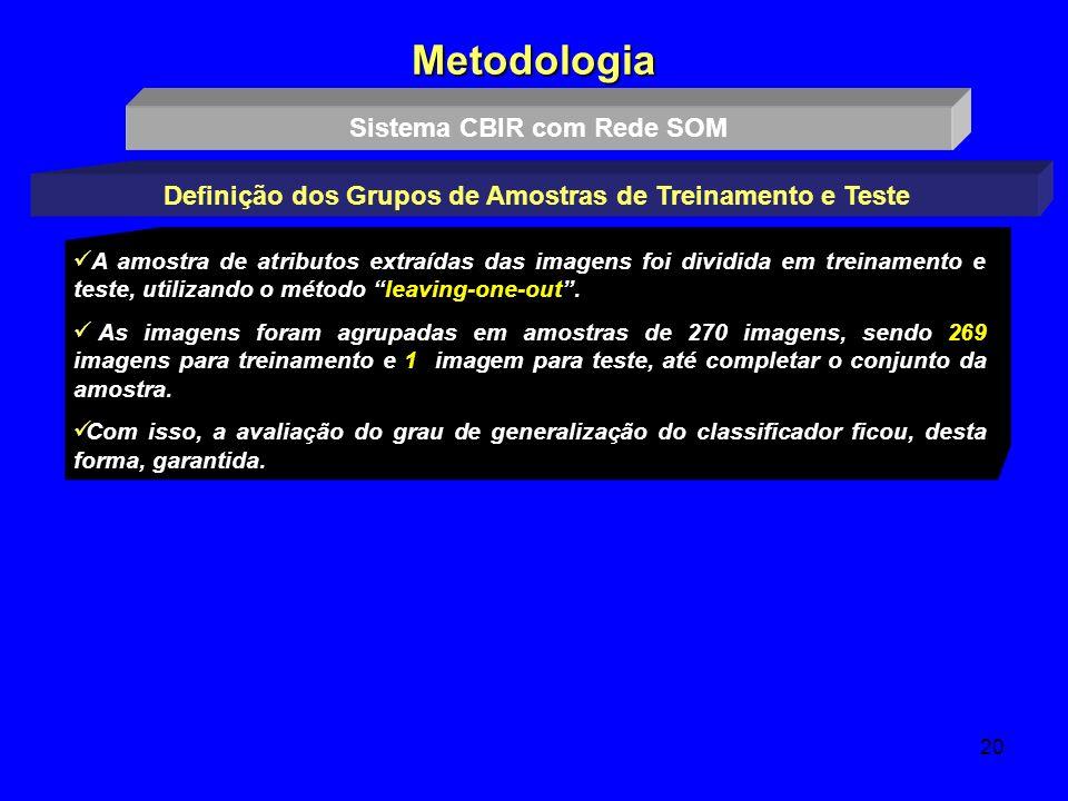 20 Metodologia Sistema CBIR com Rede SOM Definição dos Grupos de Amostras de Treinamento e Teste A amostra de atributos extraídas das imagens foi divi