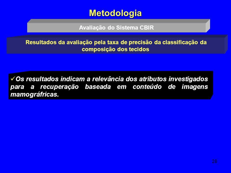 28 Metodologia Resultados da avaliação pela taxa de precisão da classificação da composição dos tecidos Os resultados indicam a relevância dos atribut