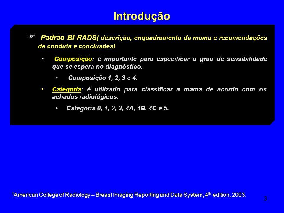 3 Introdução Padrão BI-RADS ( descrição, enquadramento da mama e recomendações de conduta e conclusões) Composição: é importante para especificar o gr