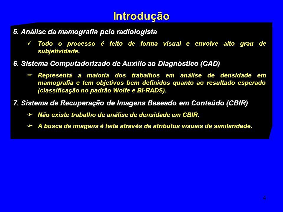 5 Objetivo Investigar atributos visuais para a recuperação de imagens mamográficas baseado em conteúdo (CBIR) que levem em consideração a densidade de tecidos mamários, quanto à sua distribuição e intensidade.