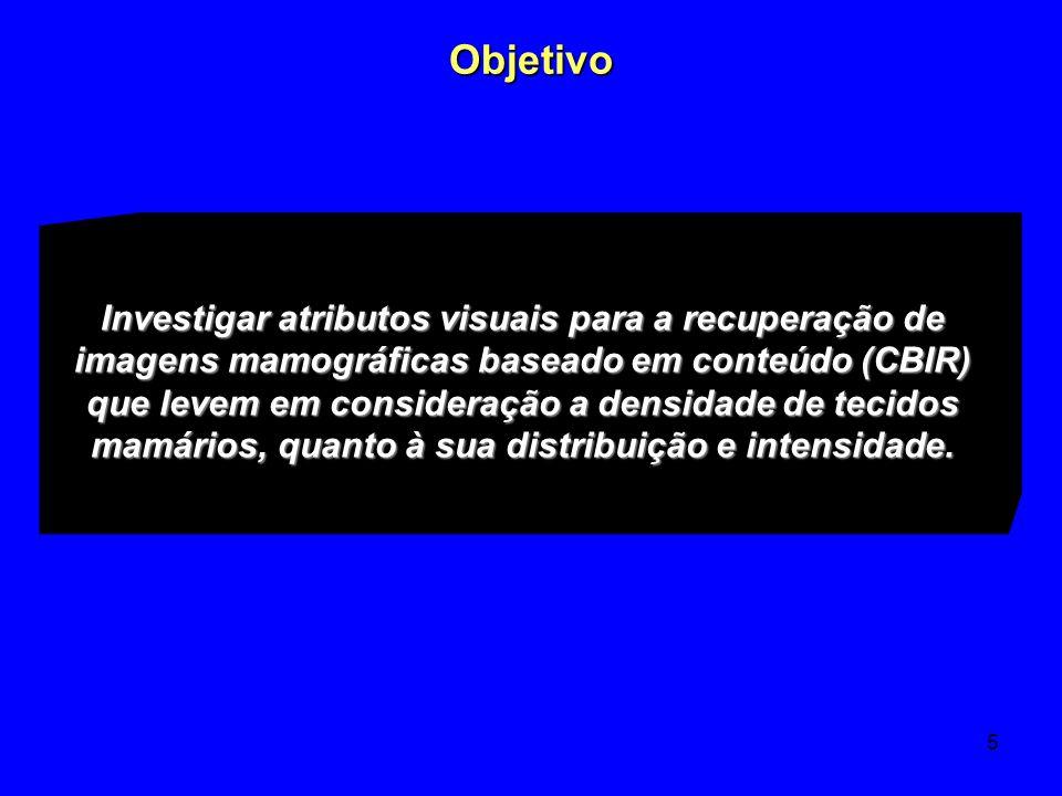 5 Objetivo Investigar atributos visuais para a recuperação de imagens mamográficas baseado em conteúdo (CBIR) que levem em consideração a densidade de
