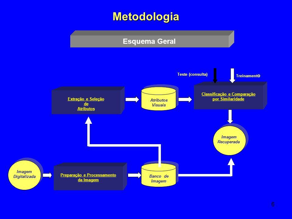6 Metodologia Preparação e Processamento da Imagem Extração e Seleção de Atributos Classificação e Comparação por SimilaridadeImagemDigitalizada Trein