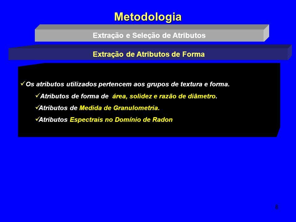 8 Metodologia Extração e Seleção de Atributos Extração de Atributos de Forma Os atributos utilizados pertencem aos grupos de textura e forma. Atributo