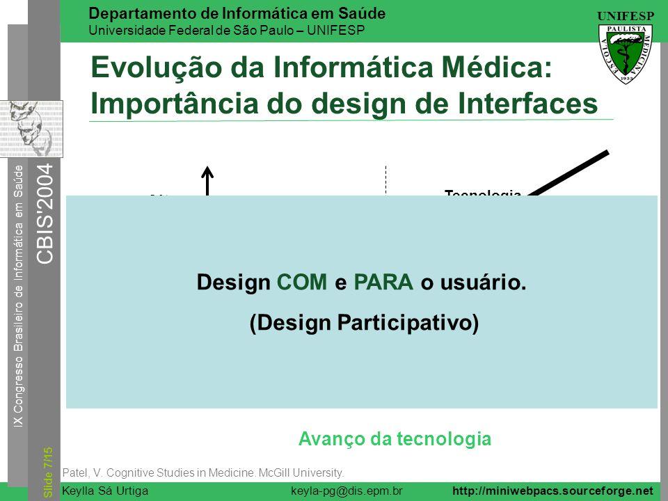 IX Congresso Brasileiro de Informática em Saúde CBIS'2004 UNIFESP Keylla Sá Urtiga Departamento de Informática em Saúde Universidade Federal de São Pa