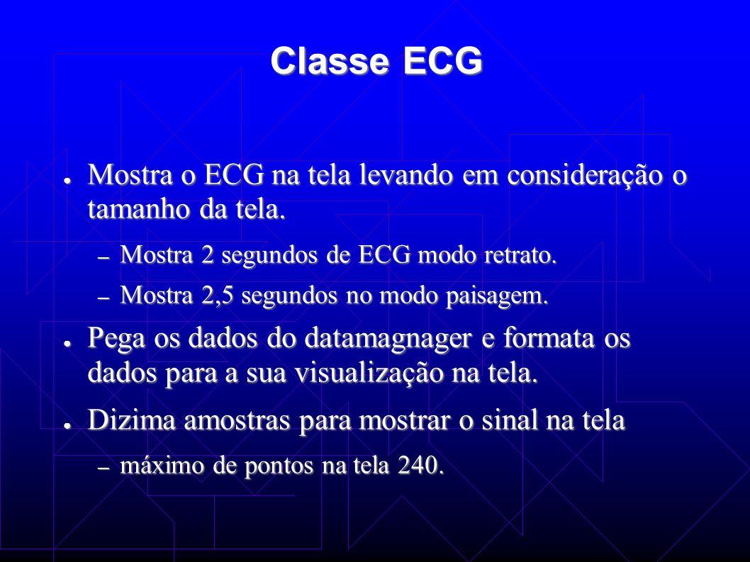 Classe ECG Mostra o ECG na tela levando em consideração o tamanho da tela. Mostra o ECG na tela levando em consideração o tamanho da tela. – Mostra 2