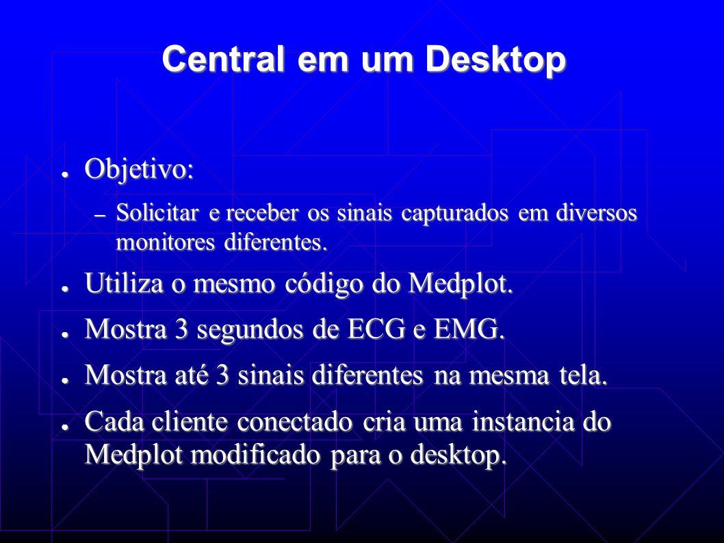 Central em um Desktop Objetivo: Objetivo: – Solicitar e receber os sinais capturados em diversos monitores diferentes. Utiliza o mesmo código do Medpl