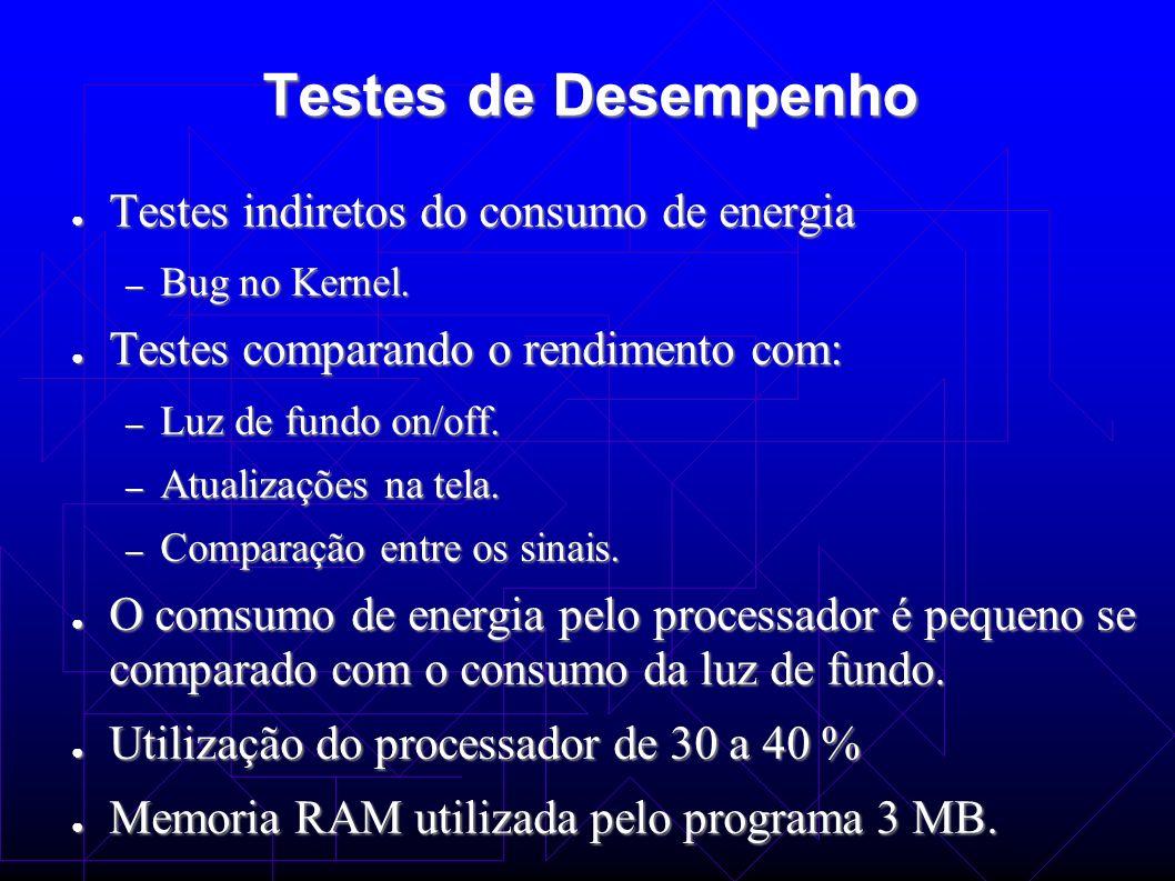 Testes de Desempenho Testes indiretos do consumo de energia Testes indiretos do consumo de energia – Bug no Kernel. Testes comparando o rendimento com
