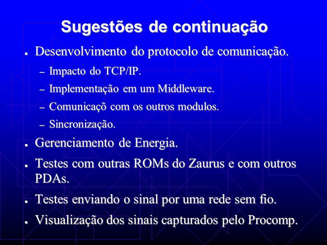 Sugestões de continuação Desenvolvimento do protocolo de comunicação. Desenvolvimento do protocolo de comunicação. – Impacto do TCP/IP. – Implementaçã