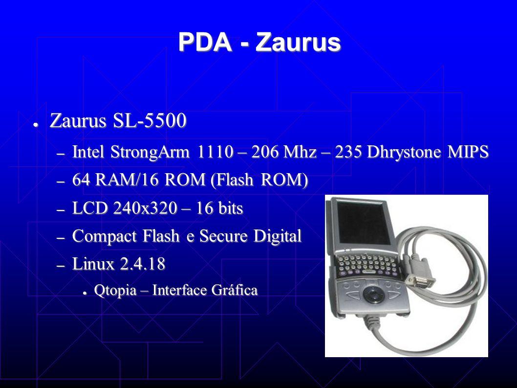 PDA-Zaurus Limitações: Limitações: – Energia limitada – Processamento limitado Processador de ponto fixo Processador de ponto fixo Operações com ponto flutuante emuladas no Kernel do linux Operações com ponto flutuante emuladas no Kernel do linux – Resolução baixa