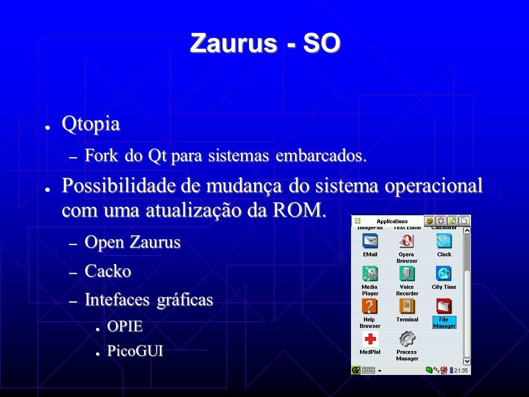 Zaurus - SO Qtopia Qtopia – Fork do Qt para sistemas embarcados. Possibilidade de mudança do sistema operacional com uma atualização da ROM. Possibili
