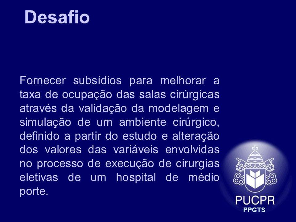PPGTS Fornecer subsídios para melhorar a taxa de ocupação das salas cirúrgicas através da validação da modelagem e simulação de um ambiente cirúrgico,
