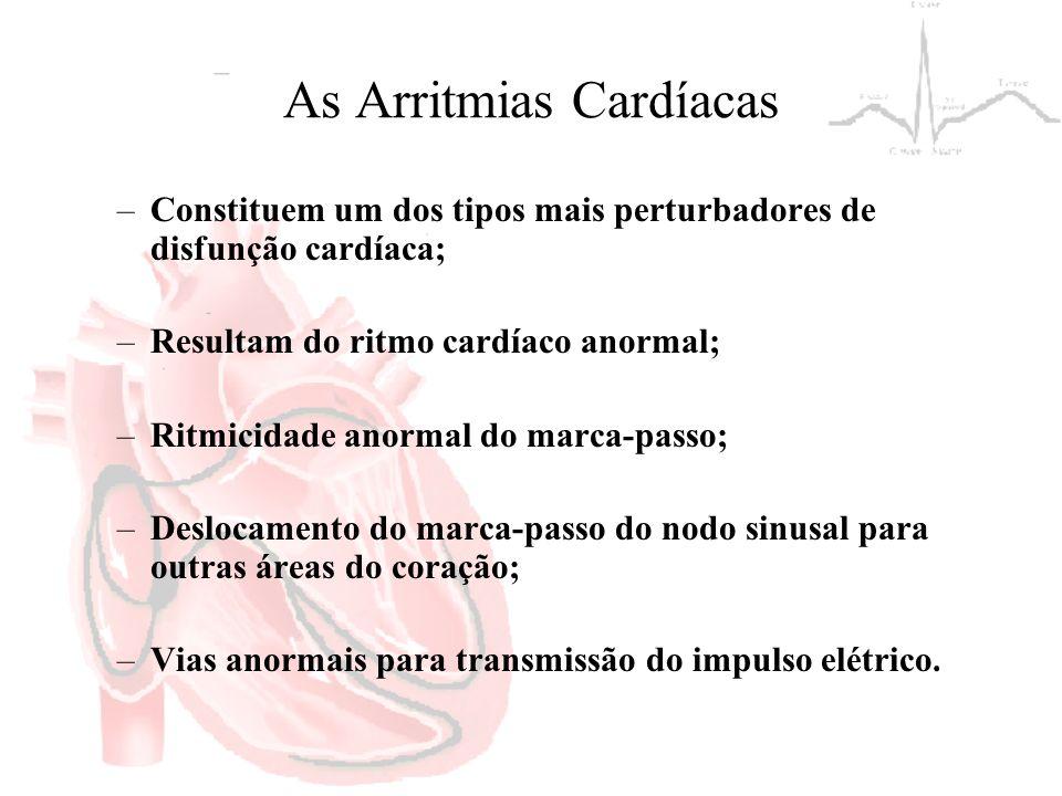 As Arritmias Cardíacas –Constituem um dos tipos mais perturbadores de disfunção cardíaca; –Resultam do ritmo cardíaco anormal; –Ritmicidade anormal do