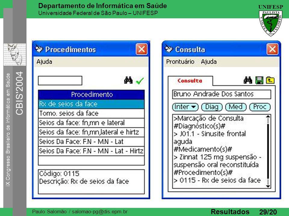 IX Congresso Brasileiro de Informática em Saúde CBIS 2004 UNIFESP Paulo Salomão / salomao-pg@dis.epm.br Departamento de Informática em Saúde Universidade Federal de São Paulo – UNIFESP 29/20 Resultados