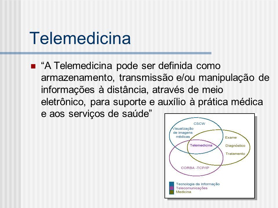 Telemedicina A Telemedicina pode ser definida como armazenamento, transmissão e/ou manipulação de informações à distância, através de meio eletrônico, para suporte e auxílio à prática médica e aos serviços de saúde