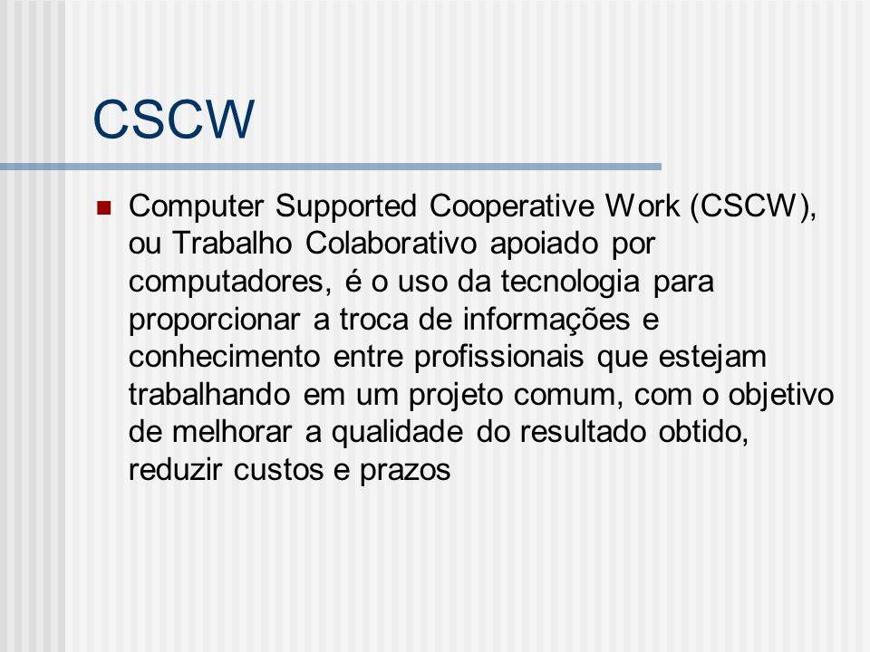 CSCW Computer Supported Cooperative Work (CSCW), ou Trabalho Colaborativo apoiado por computadores, é o uso da tecnologia para proporcionar a troca de informações e conhecimento entre profissionais que estejam trabalhando em um projeto comum, com o objetivo de melhorar a qualidade do resultado obtido, reduzir custos e prazos