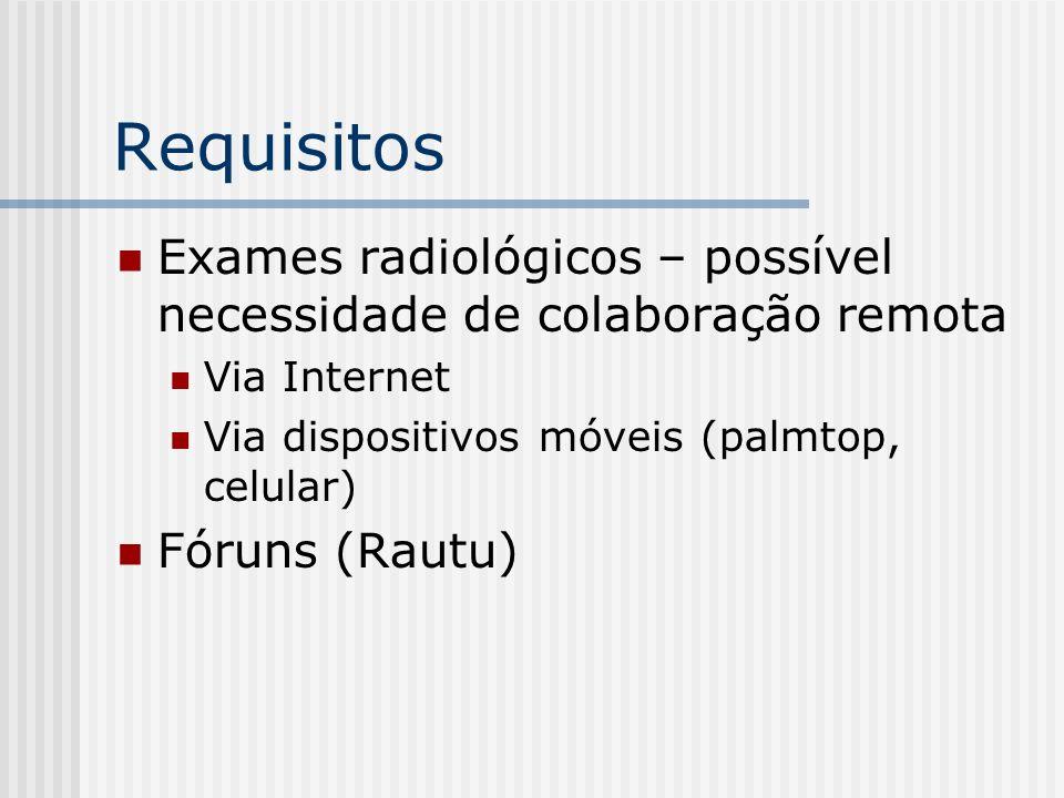 Requisitos Exames radiológicos – possível necessidade de colaboração remota Via Internet Via dispositivos móveis (palmtop, celular) Fóruns (Rautu)