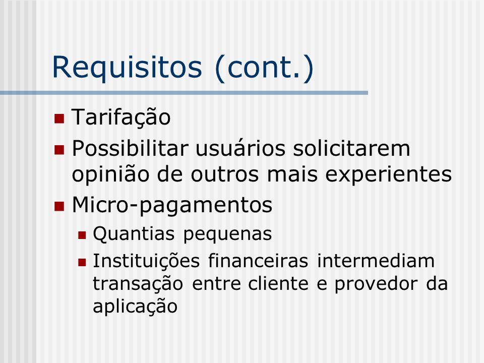 Requisitos (cont.) Tarifação Possibilitar usuários solicitarem opinião de outros mais experientes Micro-pagamentos Quantias pequenas Instituições financeiras intermediam transação entre cliente e provedor da aplicação