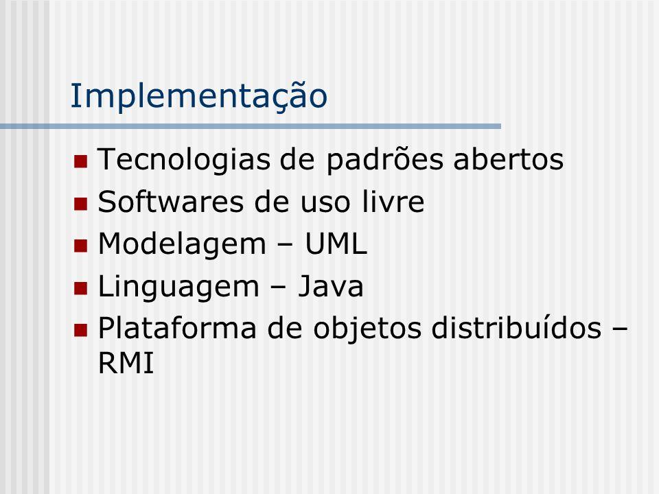 Implementação Tecnologias de padrões abertos Softwares de uso livre Modelagem – UML Linguagem – Java Plataforma de objetos distribuídos – RMI