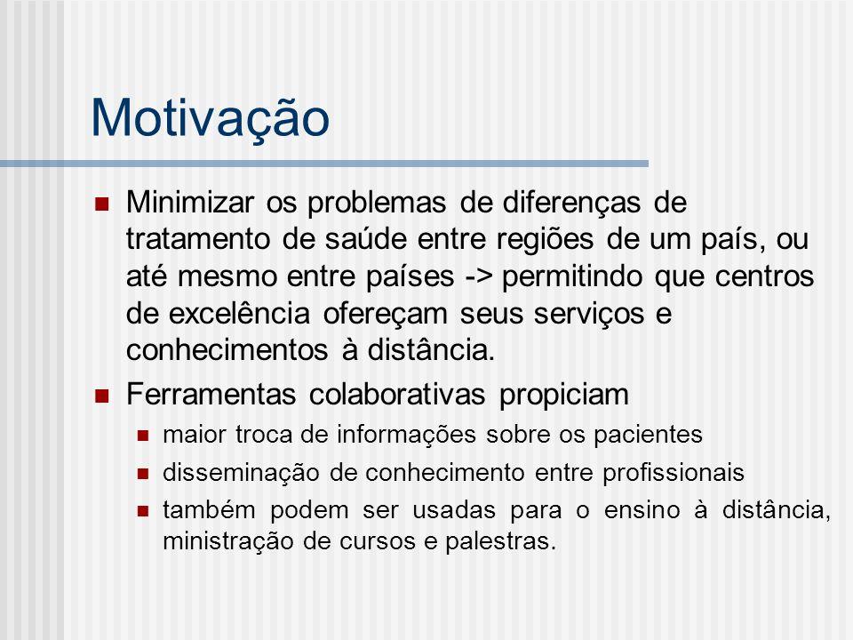 Motivação Minimizar os problemas de diferenças de tratamento de saúde entre regiões de um país, ou até mesmo entre países -> permitindo que centros de excelência ofereçam seus serviços e conhecimentos à distância.