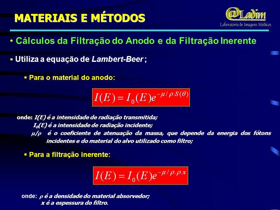 Cálculos da Filtração do Anodo e da Filtração Inerente Para o material do anodo: Para o material do anodo: Para a filtração inerente: Para a filtração
