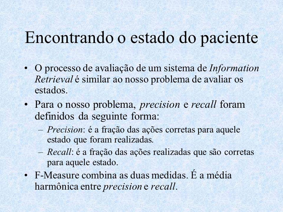Encontrando o estado do paciente O processo de avaliação de um sistema de Information Retrieval é similar ao nosso problema de avaliar os estados. Par