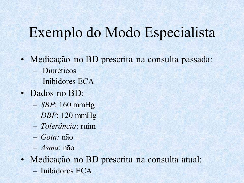 Exemplo do Modo Especialista Medicação no BD prescrita na consulta passada: – Diuréticos – Inibidores ECA Dados no BD: –SBP: 160 mmHg –DBP: 120 mmHg –Tolerância: ruim –Gota: não –Asma: não Medicação no BD prescrita na consulta atual: –Inibidores ECA