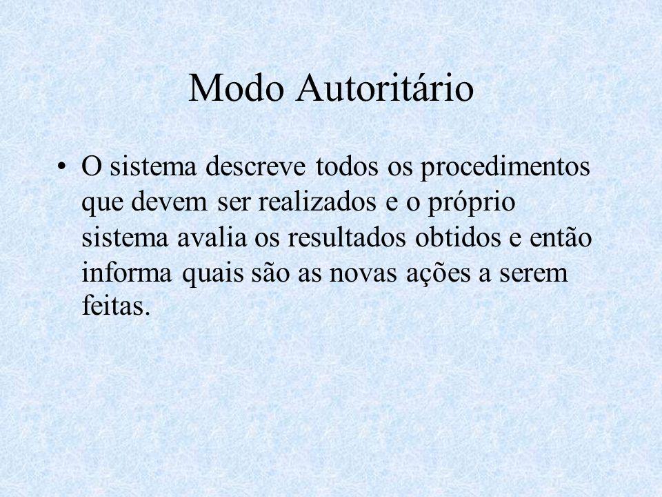 Modo Autoritário O sistema descreve todos os procedimentos que devem ser realizados e o próprio sistema avalia os resultados obtidos e então informa quais são as novas ações a serem feitas.