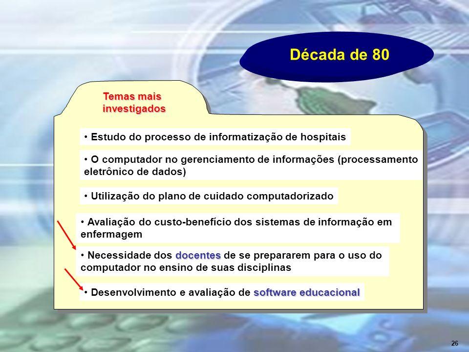 Década de 80 Temas mais investigados Estudo do processo de informatização de hospitais O computador no gerenciamento de informações (processamento ele