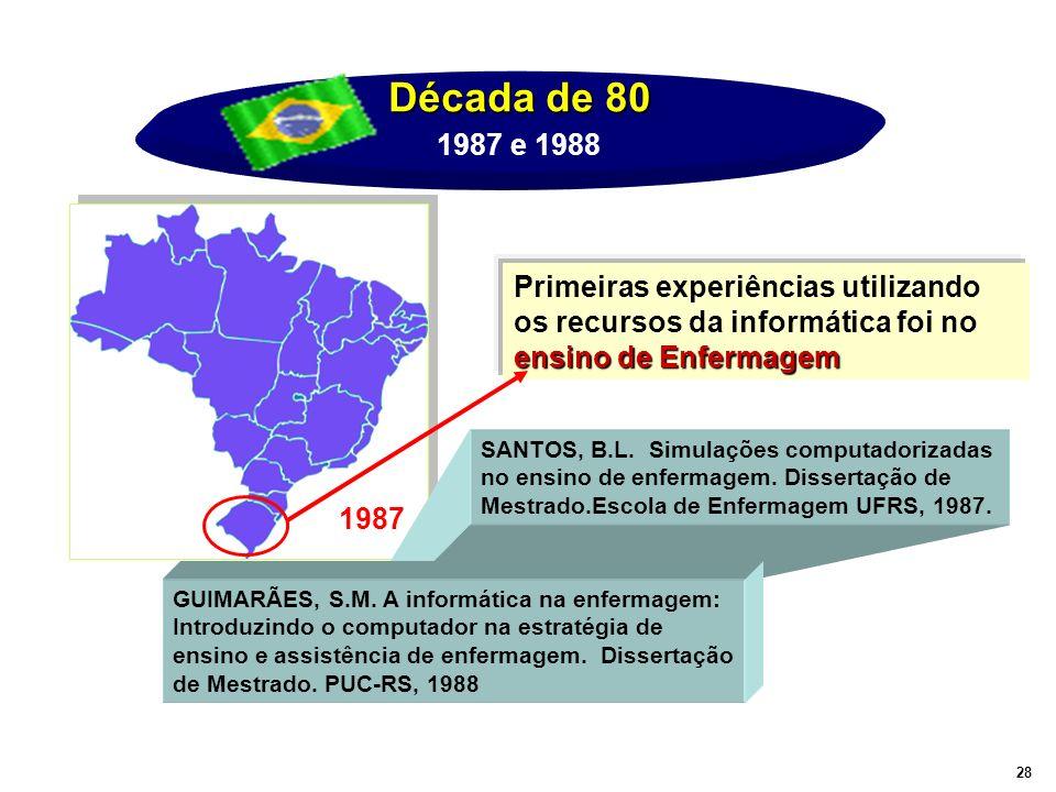 Década de 80 ensino de Enfermagem Primeiras experiências utilizando os recursos da informática foi no ensino de Enfermagem 1987 SANTOS, B.L. Simulaçõe