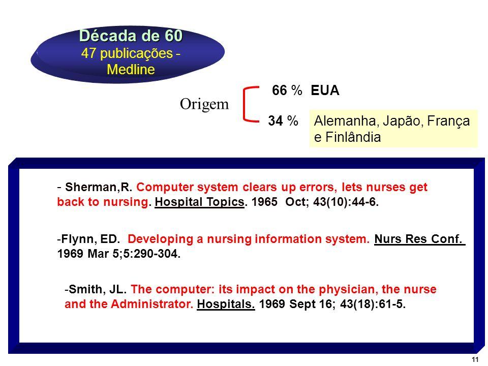 - Sherman,R. Computer system clears up errors, lets nurses get back to nursing. Hospital Topics. 1965 Oct; 43(10):44-6. Década de 60 Década de 60 47 p