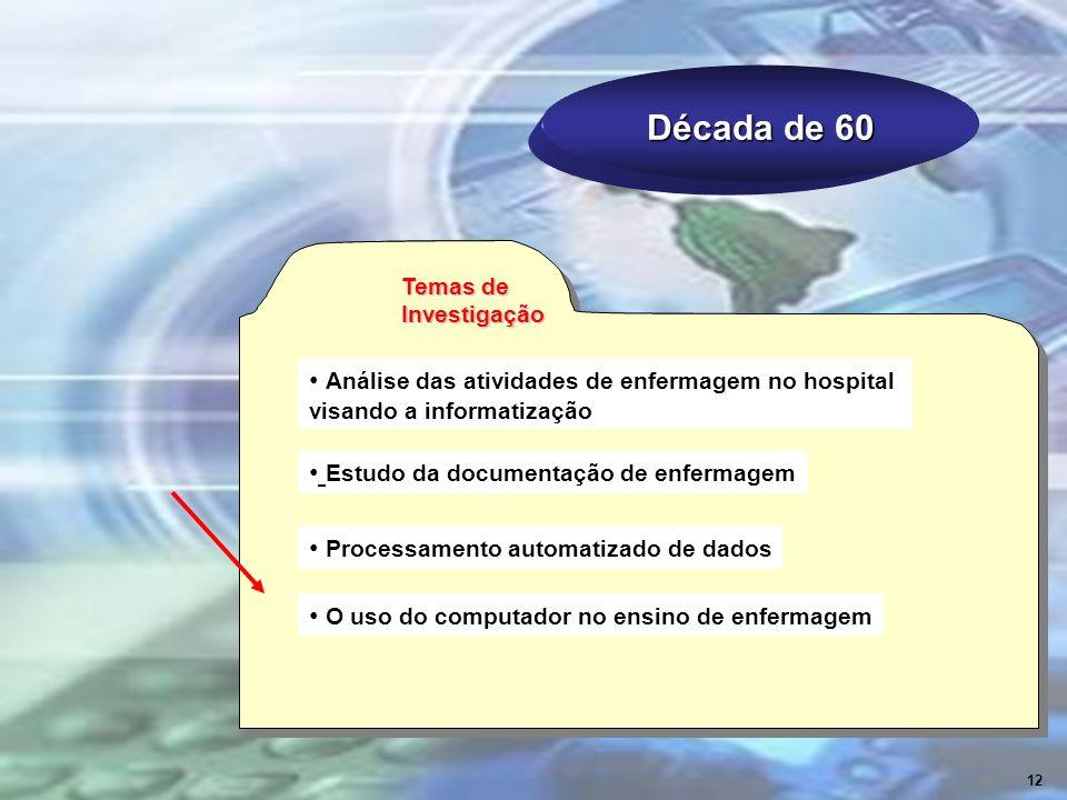 Década de 60 Temas de Investigação Análise das atividades de enfermagem no hospital visando a informatização Processamento automatizado de dados Estud