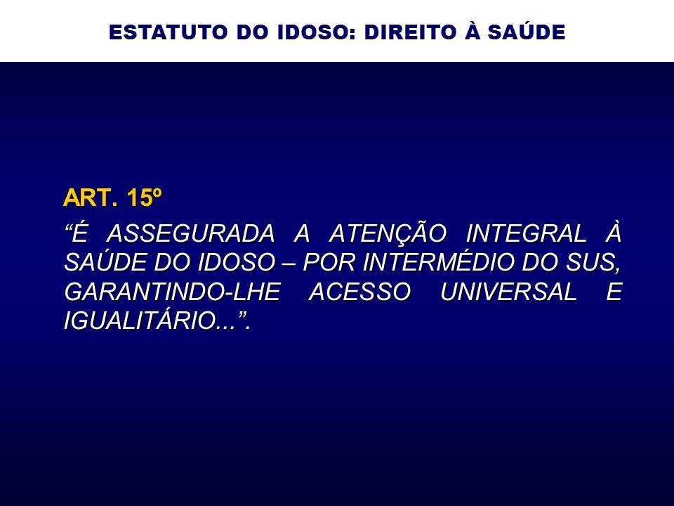 ART. 15º É ASSEGURADA A ATENÇÃO INTEGRAL À SAÚDE DO IDOSO – POR INTERMÉDIO DO SUS, GARANTINDO-LHE ACESSO UNIVERSAL E IGUALITÁRIO.... ESTATUTO DO IDOSO