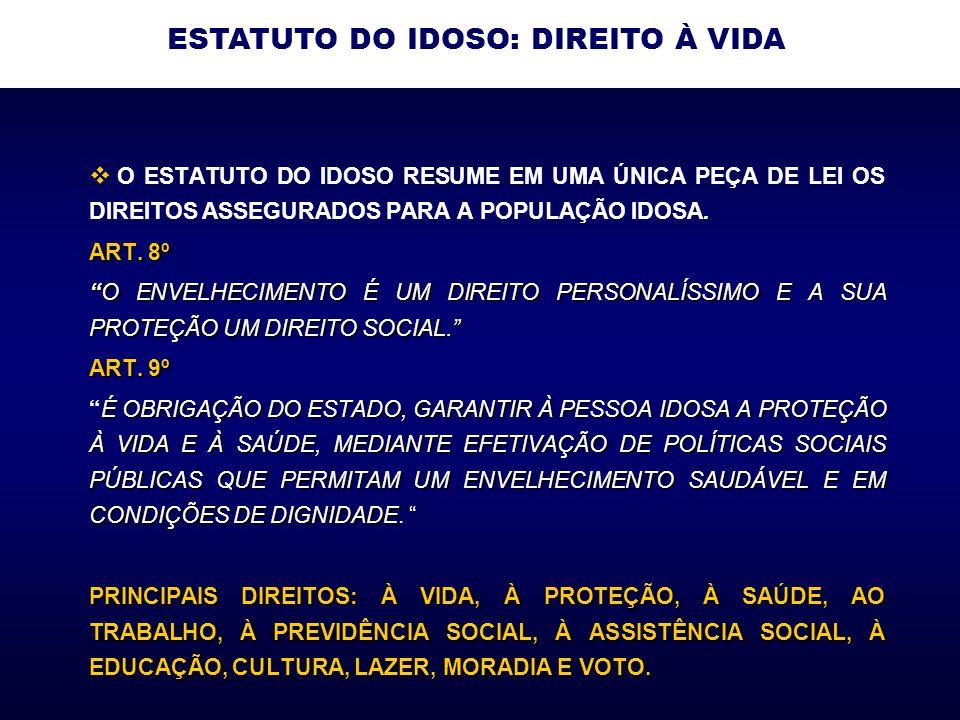 O ESTATUTO DO IDOSO RESUME EM UMA ÚNICA PEÇA DE LEI OS DIREITOS ASSEGURADOS PARA A POPULAÇÃO IDOSA.