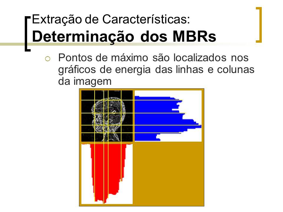 Extração de Características: Determinação dos MBRs Pontos de máximo são localizados nos gráficos de energia das linhas e colunas da imagem