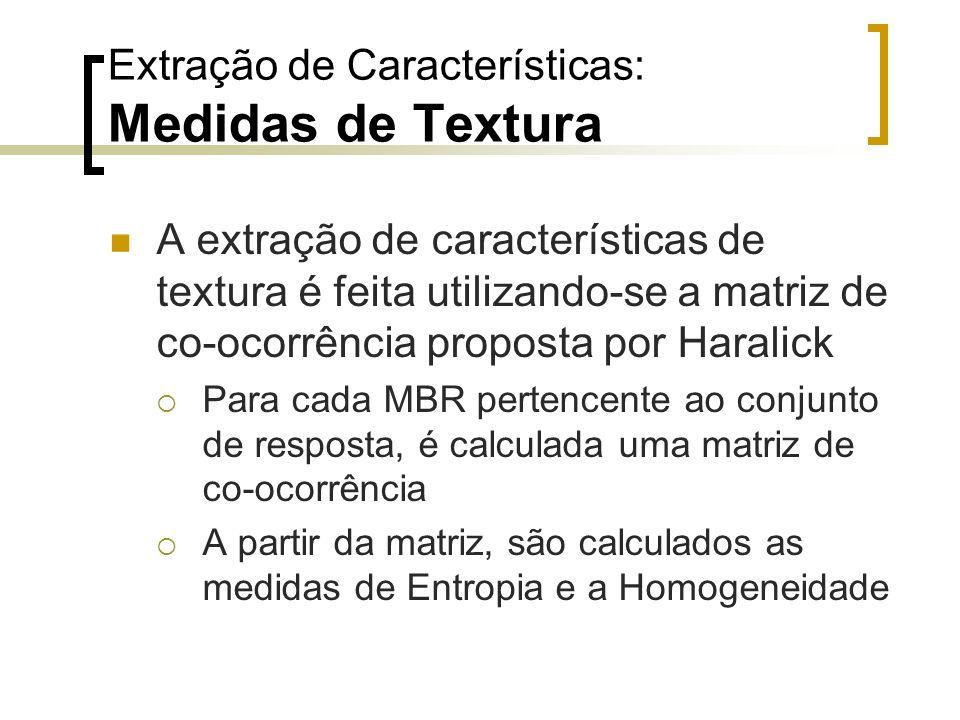 Extração de Características: Medidas de Textura A extração de características de textura é feita utilizando-se a matriz de co-ocorrência proposta por