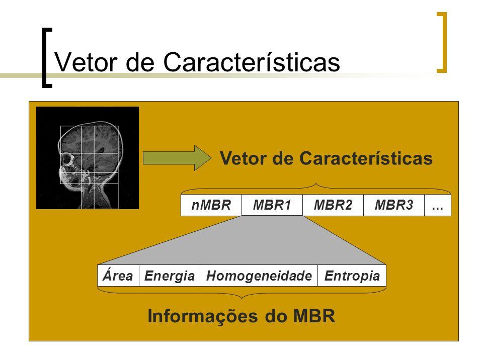 Vetor de Características nMBR MBR1 MBR2 MBR3... Área Energia Homogeneidade Entropia Informações do MBR Vetor de Características