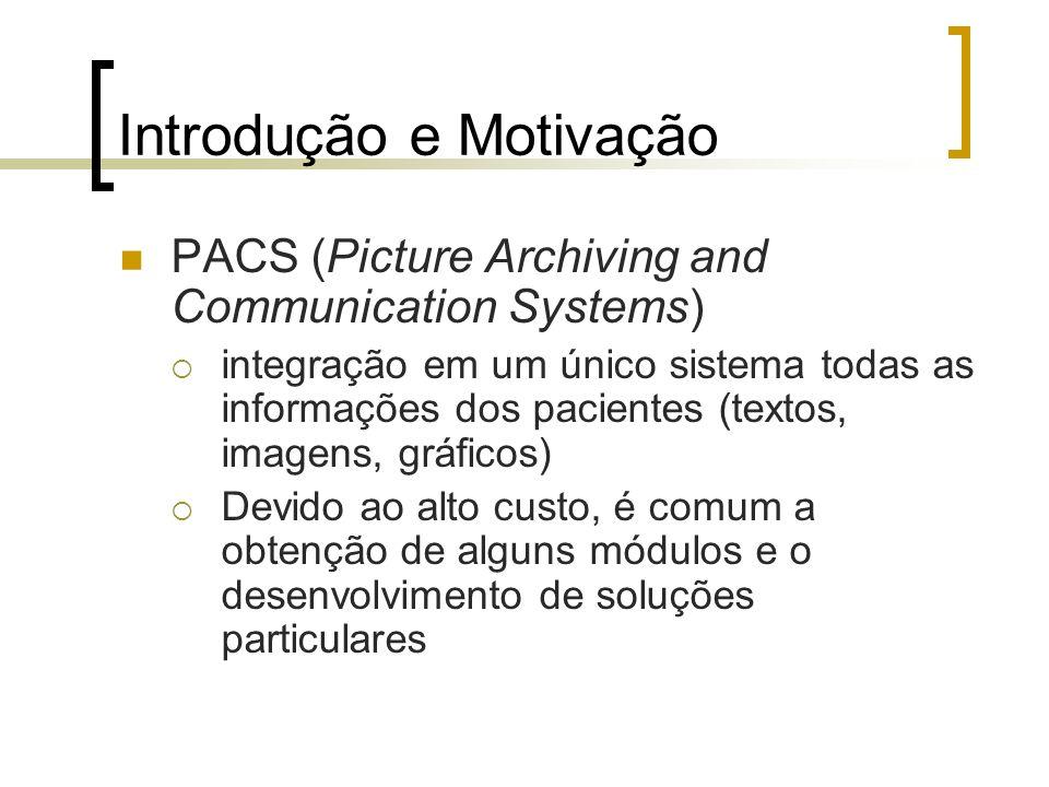 Introdução e Motivação PACS (Picture Archiving and Communication Systems) integração em um único sistema todas as informações dos pacientes (textos, i