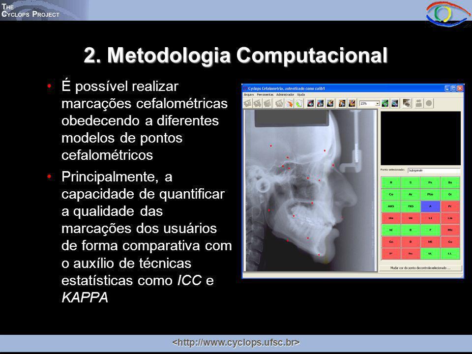 2. Metodologia Computacional É possível realizar marcações cefalométricas obedecendo a diferentes modelos de pontos cefalométricos Principalmente, a c