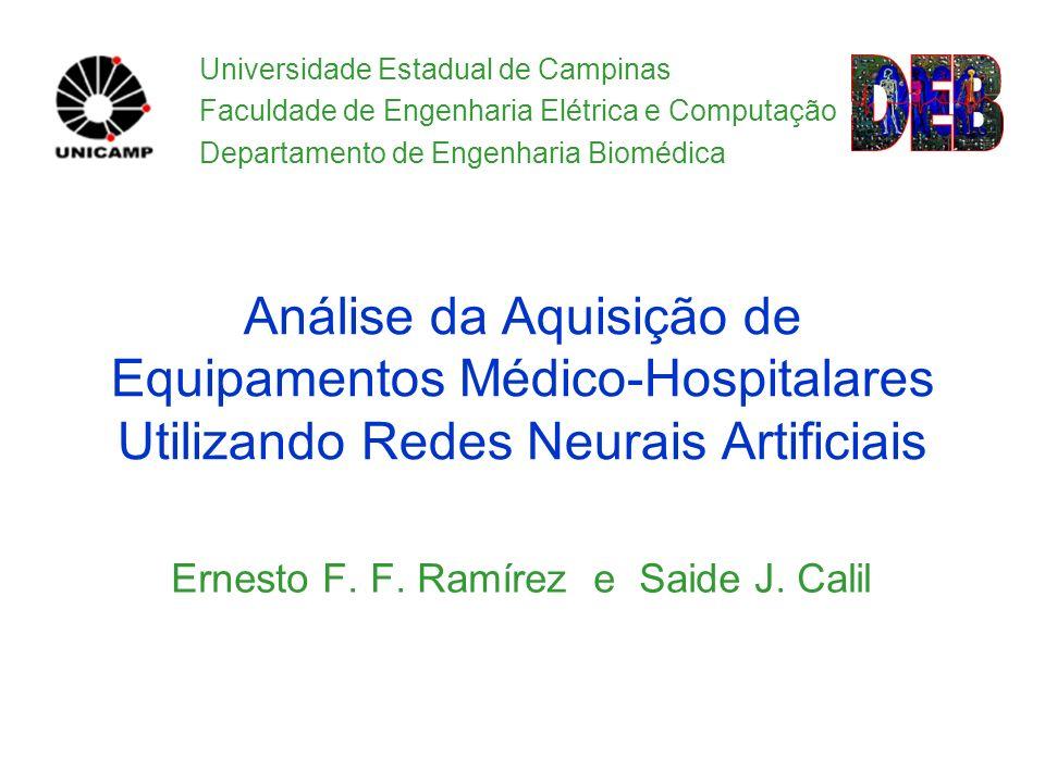 Slide 1 de 17 Análise da Aquisição de Equipamentos Médico-Hospitalares Utilizando Redes Neurais Artificiais Ernesto F. F. Ramírez e Saide J. Calil Uni