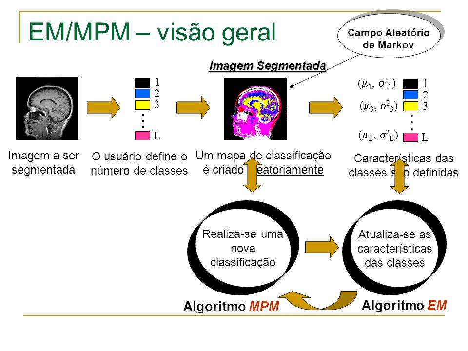 EM/MPM – visão geral Imagem a ser segmentada Um mapa de classificação é criado aleatoriamente Características das classes são definidas... 2 1 3 L ( 1
