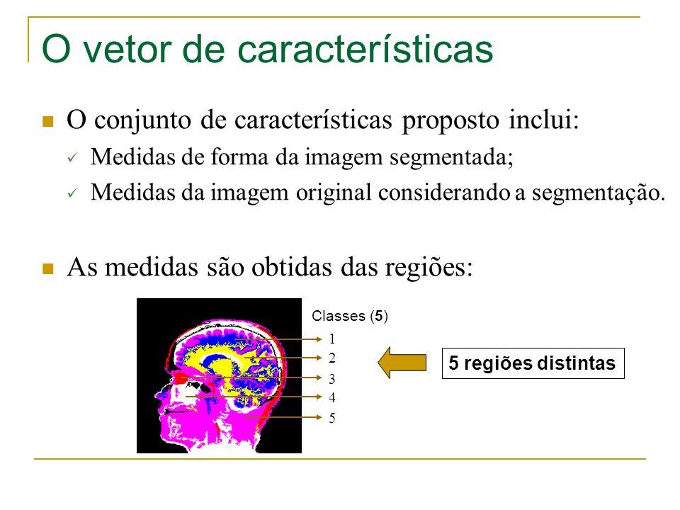 O vetor de características O conjunto de características proposto inclui: Medidas de forma da imagem segmentada; Medidas da imagem original consideran