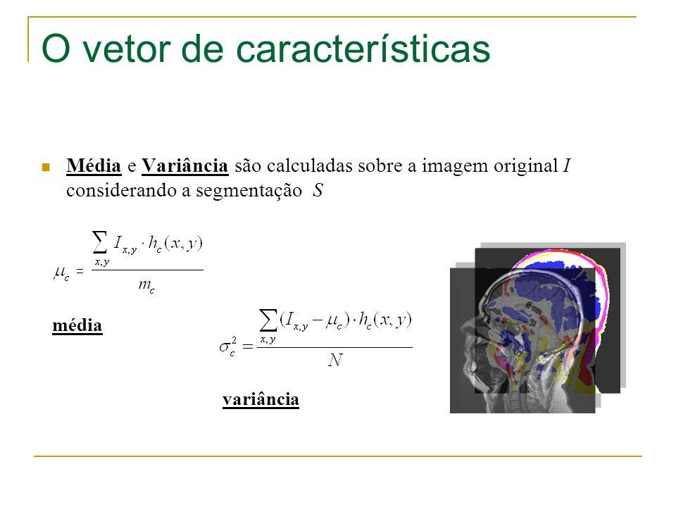O vetor de características Média e Variância são calculadas sobre a imagem original I considerando a segmentação S média variância